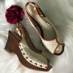 BCBGirls Cream & Brown Wedge Peep Toe Sandals